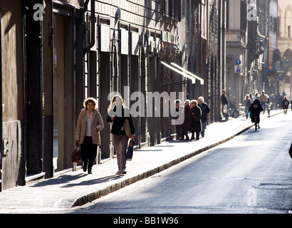 Florence Tuscany Italy The city of the Renaissance Photo shows Chic Florentines walking the streets of Florence - Stock Photo