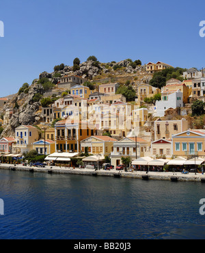 The Harbour Gialos Yialos city of Symi Greece - Stock Photo