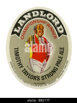 Old British beer label for Timothy Taylor's Landlord, Keighley, West Yorkshire - Stock Photo