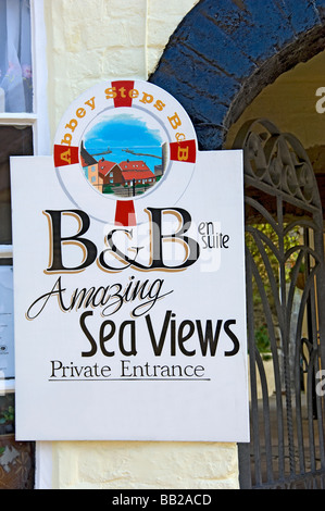 Bed and breakfast sign outside a guest house Whitby North Yorkshire England UK United Kingdom GB Great Britain - Stock Photo
