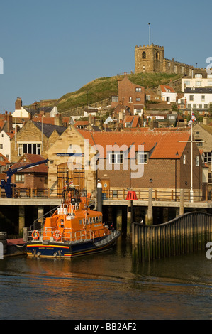 RNLI lifeboat George and Mary Webb moored outside Whitby lifeboat station North Yorkshire England UK United Kingdom - Stock Photo