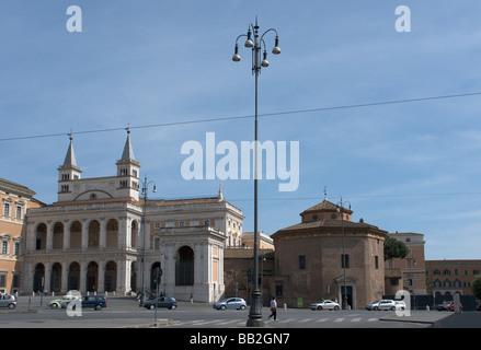 Loggia delle Benedizioni di San Giovanni in Laterano and Battistero Lateranense. - Stock Photo