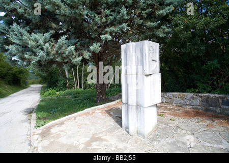 Traveling Croatia; A monument on the Glagolitic trail in Istria. - Stock Photo