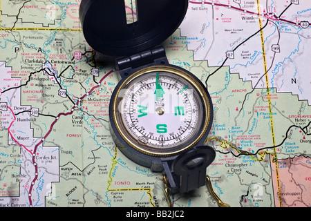 Map Compass - Stock Photo