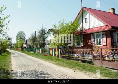 Traditional wooden house in Soce village, Poland - Stock Photo