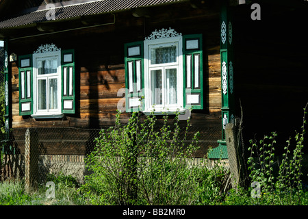 Decorated windows in Soce village, Poland - Stock Photo