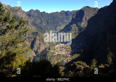 The view down into Nuns Valley (Curral das Freiras) from Eira do Serrado on the island of Madeira. - Stock Photo
