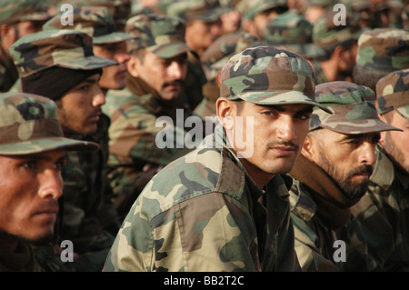 A group of Afghan National Army recruits in basic training at the Kabul Military Training Centre, Afghanistan. - Stock Photo