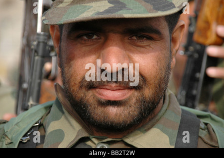 Portrait of an Afghan National Army (ANA) recruit in basic training at the Kabul Military Training Centre, Afghanistan. - Stock Photo