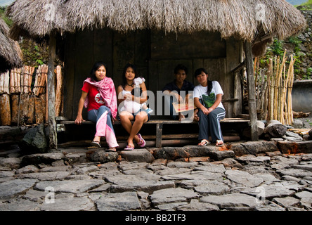 Young in a house in Batad village. - Stock Photo