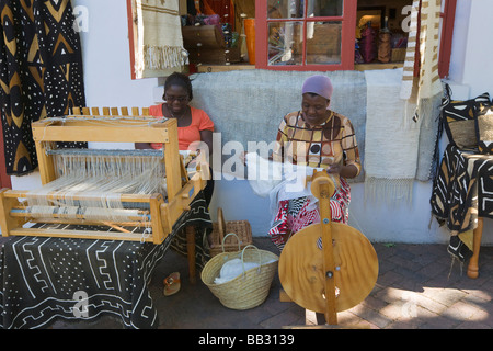African women weaving silk, Stellenbosch, 'South Africa' - Stock Photo