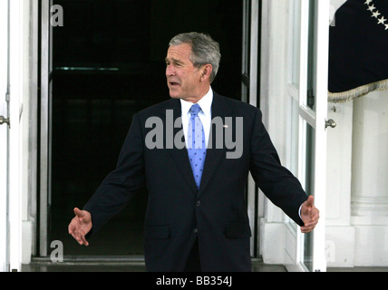 President George W. Bush waits and waits for Senator John McCain to arrive at the White House on March 5, 2008. - Stock Photo