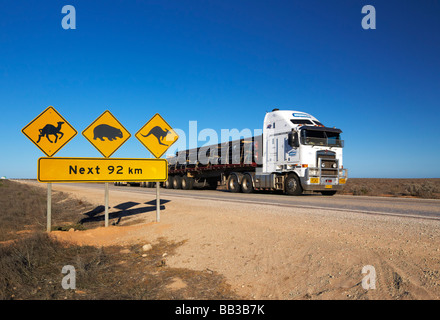 Iconic Australian road sign on the Eyre Highway Near the Nullabor Road House South Australia - Stock Photo