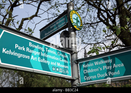 Direction sign for the Kelvin Walkway in Kelvingrove Park in the West End of Glasgow Scotland UK - Stock Photo
