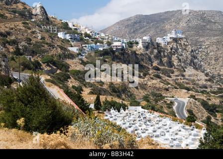 Greek Island Karpathos Cemetary of mountain village Menetes - Stock Photo