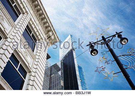 Portage avenue in downtown Winnipeg, Manitoba, Canada. - Stock Photo