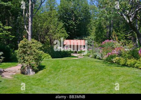 North America, USA, Maine, Mount Desert, Northeast Harbor.  Thuya Gardens. - Stock Photo