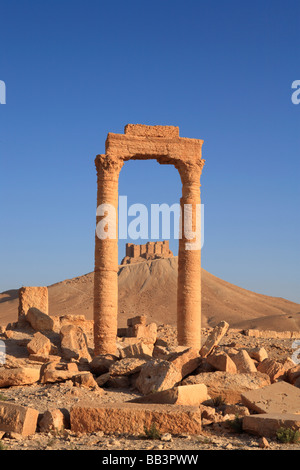 The Citadel at Palmyyra seen though an archway, Syria - Stock Photo