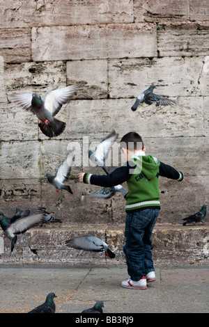 Boy Chasing Pigeons by the Yeni Camii or New Mosque in Istanbul Turkey - Stock Photo