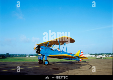 Boelng Stearman PT-17 Biplane providing rides at the CAF Air Show in St. Paul, Minnesota - Stock Photo