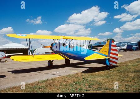 Boelng Stearman PT-17 Biplane providing rides at CAF Air Show - Stock Photo