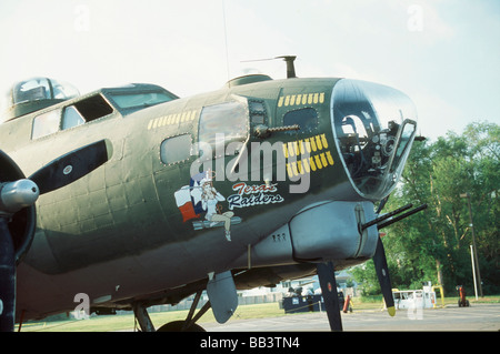 B-17 G Flying Fortress, close up of the nose and cockpit of this plane - Stock Photo