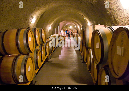 USA, Oregon. Wooden wine casks in cellar and visitors on tour at Dundee Hills Winery. - Stock Photo