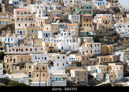 Greek Island Karpathos: Mountain village Olympos. - Stock Photo