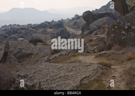 Barren landscape south of Qobustan Azerbaijan. - Stock Photo
