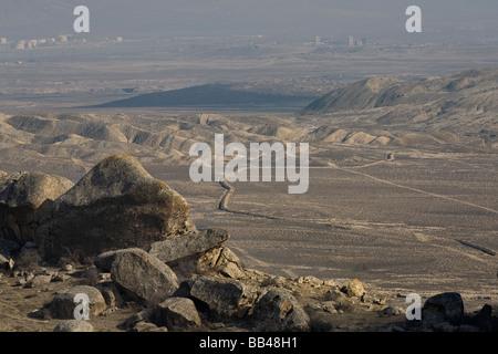 Barren landscape south of Qobustan, Azerbaijan. - Stock Photo