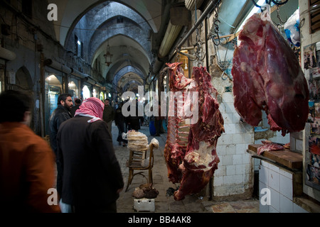 Butcher shop in Aleppo bazaar, Syria. - Stock Photo