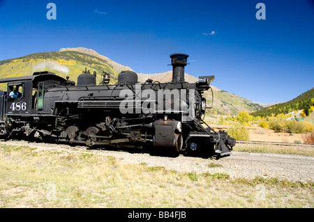 Colorado, Silverton. The Durango & Silverton Narrow Gauge Railroad. Train leaving the Silverton station. - Stock Photo