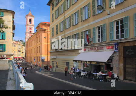 Street scene in the 'Vielle Ville' (old town) part of Nice on the French riviera - Stock Photo