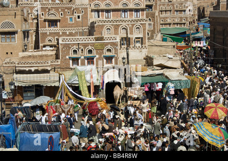 Bab Al Yemen market in the old town district of Sana'a Yemen - Stock Photo