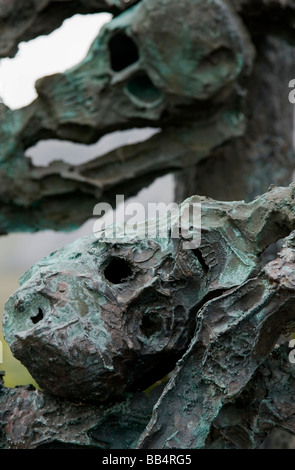 Europe, Ireland, County Mayo, Murrisk. Details of the sculptured metal skeletons on the national Famine Memorial - Stock Photo