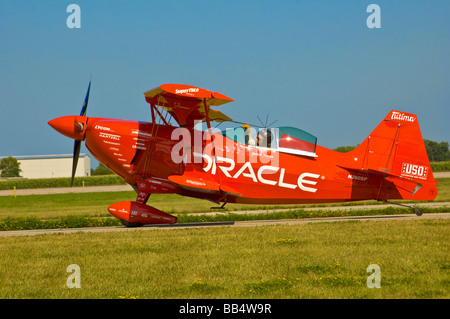 Oracle Challenger II Stunt Biplane on runway at EAA Air Show, 2006 - Stock Photo