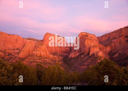 Kolob Canyon Overlook Zion National Park Utah Nagunt Mesa left center Timber Top Mountain right