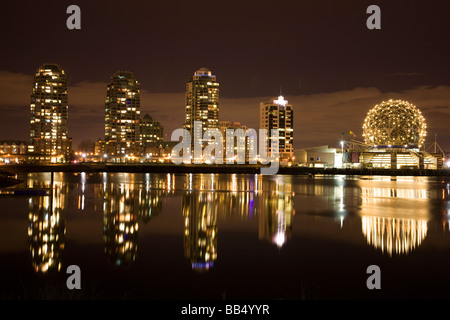 The city skyline of Vancouver and Science World British Columbia Canada - Stock Photo