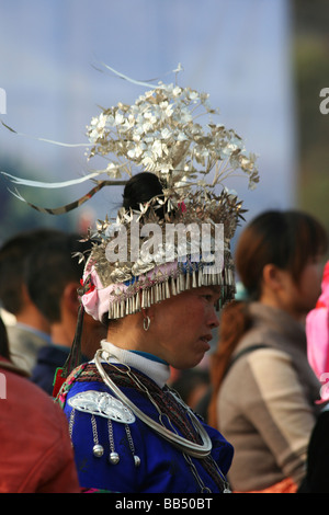 Miao Women In Traditional Costume, China - Stock Photo
