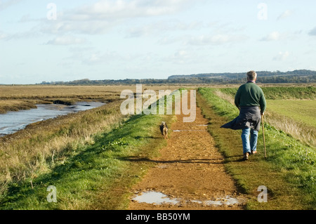 Walker with dog on North Norfolk coastal path, Thornham. - Stock Photo