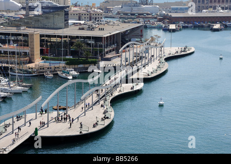 Rambla de Mar in Barcelona Spain - Stock Photo
