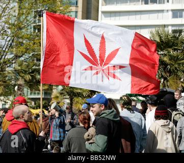 Legalise Marijuana demonstration in Vancouver, Canada. - Stock Photo
