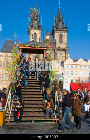 Easter market at old town square in old town Prague Czech Republic Europe - Stock Photo
