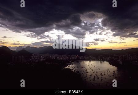 View from Morro da Urca Rio de Janeiro Brazil - Stock Photo