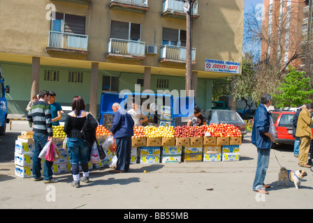 Apple seller at the main market in Skopje Macedonia Europe - Stock Photo