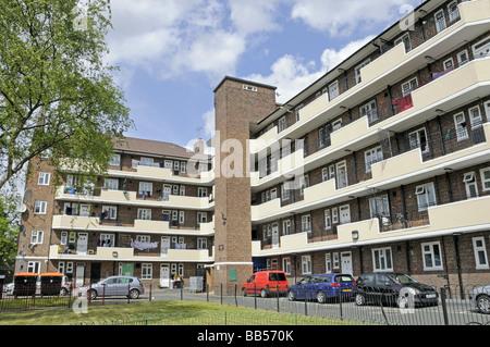 Block of Council flats with balconies Hackney London England UK - Stock Photo