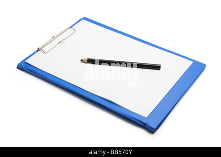 Clipboard with Blank Paper and Pencil - Stock Photo