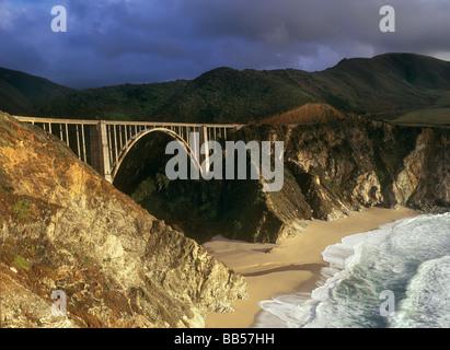 Bixby Bridge along the Big Sur Coast, Garrapata State Park CA USA - Stock Photo