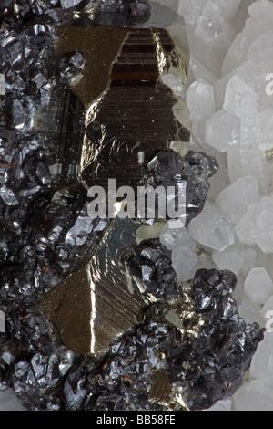 Sphalerite (dark color) Pyrite (golden color) and Quartz (white color) Crystals  - Peru - Stock Photo
