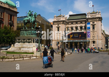 Trg Republike square in central Belgrade Serbia Europe - Stock Photo